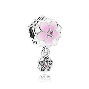 Pandora Dangling Pink Magnolia Flower Charm